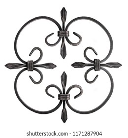 Wrought iron fleur de lis infinite round fence decoration isolated on white background