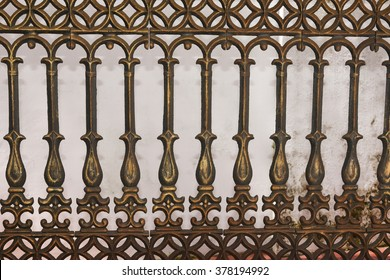 Wrought Iron Gate, Door, Fence, Window, Grill, Railing Design. vintage border set. metal decorative fence/ cast iron fence. Black pattern railing of a house in Kerala, India.
