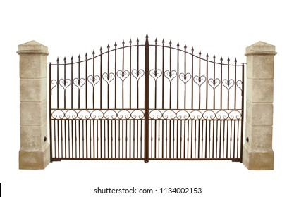 Wrought iron gate and stone pillar isolated on white background.