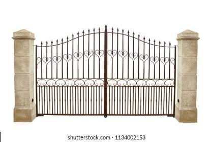 Wrought iron gate and stone pillar isolated on white background.