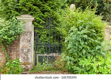 Wrought iron gates which are overgrown and abandoned.