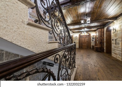Wrought iron ornament in corridor of mansion
