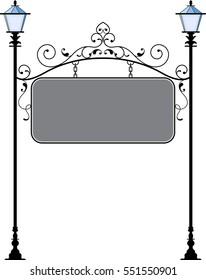 Wrought Iron Signage With Lamp, Lantern Raster Illustration