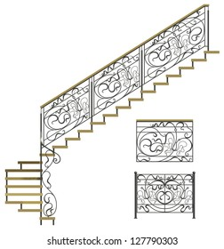 Wrought iron stairs railing with wooden steps