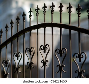 Wrought iron tracery black fence fragment