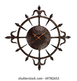 wrought iron wall clock isolated on white background