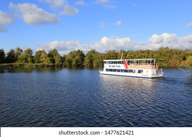 Wroxham, Norfolk, England. August 13, 2019. Tourist river cruise boat on the Norfolk broads in Norfolk, England.