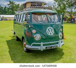 Wroxham, Norfolk, UK – July 21 2019. Front view of a classic VW campervan on display at the annual classic car show in Wroxham, Norfolk, UK