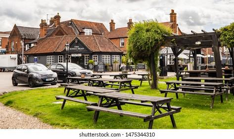 Wroxham, Norfolk, UK – June 01 2019. The Kings Head Pub in the Norfolk village of Wroxham