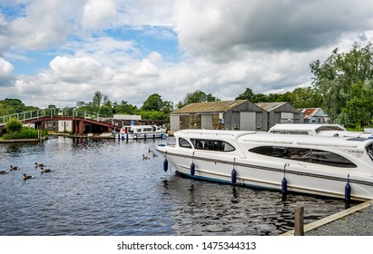 Wroxham, Norfolk, UK – June 01 2019. The public moorings on the River Bure in the town of Wroxham, Norfolk