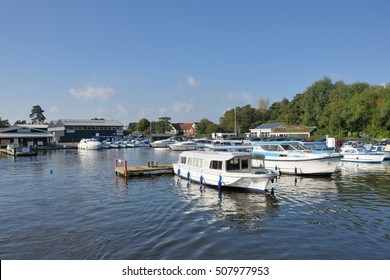 Wroxham Norfolk  , United Kingdom - October 25, 2016: Pleasure Boats on  River Yare centre for tourism on Norfolk Broads