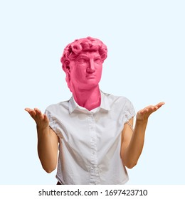 WTF asking female body headed by pink statue. Negative space to insert your text. Modern design. Contemporary colorful and conceptual bright art collage with statue's head, historical.