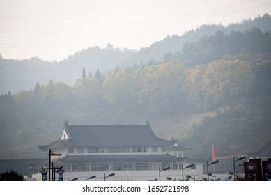 Wudang Mountain, Shiyan City, Hubei Province, November 27, 2019: Ancient Chinese Architecture: Temple Architecture in Wudang Mountain