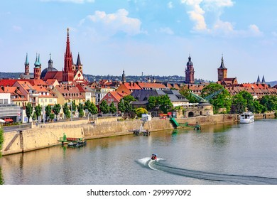 Wuerzburg City Summer River Panorama. Medieval City with famous church towers in Bavaria near Munich