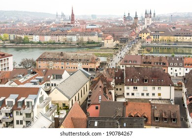 WUERZBURG, GERMANY - APRIL 5: View over the city of Wuerzburg, Germany on April 5, 2014.  The historic city is over 1300 years old. Foto taken from Marienberg Fortress.