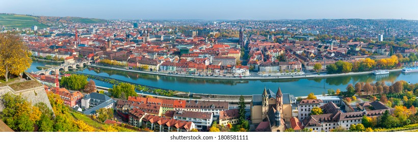 Wuerzburg, Germany/Bavaria – September 3, 2020: Panoramic view to the skyline of medieval old town Wuerzburg at river Main