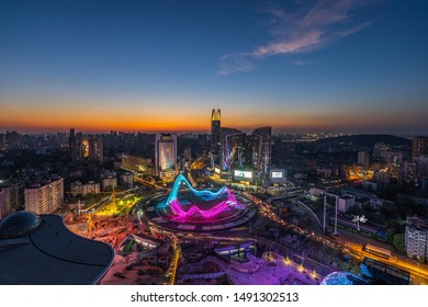 WUHAN, CHINA - Aug 16 2019:Cityscape of Optics Valley, Wuhan.Wuhan city  at night.Panoramic skyline and buildings in financial district.