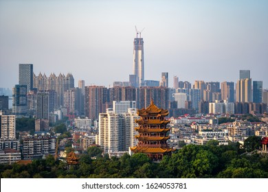 WUHAN, CHINA - Jan.20 2020:Aerial view of  Wuhan city .The yellow crane tower , located on snake hill in Wuhan, is one of the three famous towers south of yangtze river,China.