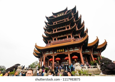 WUHAN CHINA-October 8, 2017: during the National Day holiday in China, tourists visit Yellow Crane Tower scenic area, which is very crowded. Yellow Crane Tower is a famous ancient building.