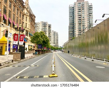 Wuhan, Hubei / China - April,15,2020 : Wuhan Guanggu shopping city with no people after Chinese government canceled the lockdown in Wuhan.