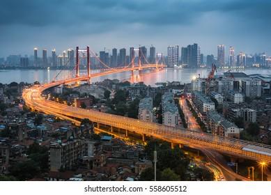Wuhan, Hubei, China parrot island Yangtze River Bridge