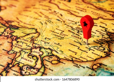 Wuhan marked on map with map pin. China map with map marker on Wuhan city, close-up. Coronavirus epidemic in Wuhan. 2019-nCov - virus infection from Wuhan