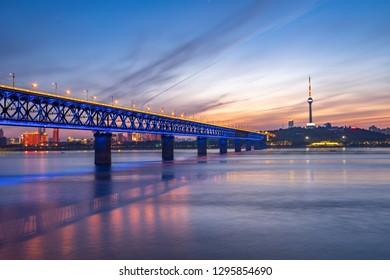 Wuhan yangtze river bridge at hubei province, China, it is the first yangtze river bridge.