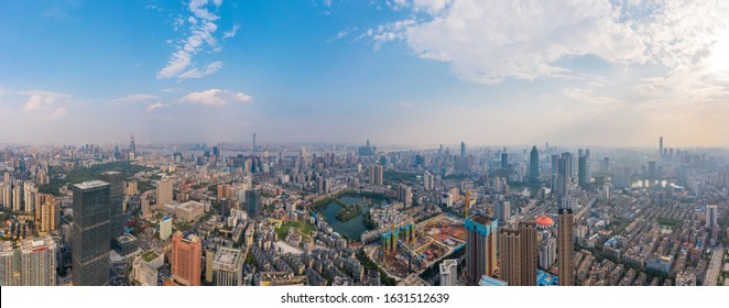 Wuhan,China-Aug 15 2019:Wuhan skyline and Yangtze river with supertall skyscraper under construction in Wuhan Hubei China.