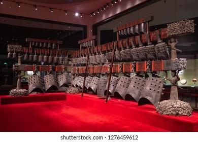 Wuhan,China-Jan 5 2018:Chime-bells from the Tomb of Marquis Yi of the Zeng State.Bianzhong of Marquis Yi of Zeng.