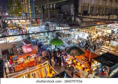 Wuhan,china-Sept 262020:Wuhan night market with   highpedestrianflownearby in Hankou of Wuhan.