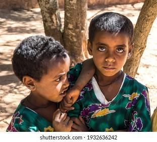 Wukro Cherkos, Ethiopia - Feb 11, 2020: Girls at the rocky church of Wukro Cherkos in Ethiopia, Africa