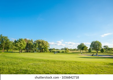 WULFEN, FEHMARN, GERMANY - JUNE 18, 2016: Golf course at Wulfener Hals on the island Fehmarn at the Baltic Sea