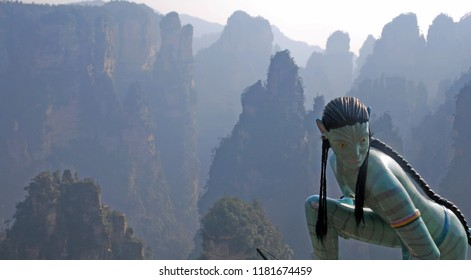Wulingyuan China -December 7 2013 : Landscape nature view of Zhangjiajie have thousands of jagged quartzite sandstone columns with Avatar's statue at Wulingyuan Scenic Area China