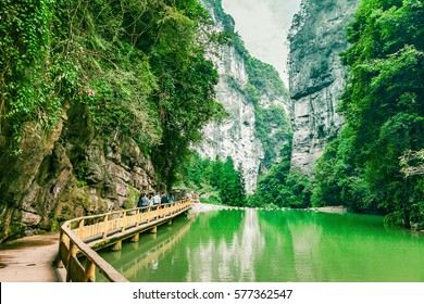 Wulong Karst limestone rock formations in Longshui Gorge Difeng, an important constituent part of the Wulong Karst World Natural Heritage, Chongqing, China
