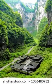 Wulong Karst National Geology Park in Chongqing, China. Chongqing Wulong ancient natural bridge Scenic Area, a UNESCO World Heritage Site