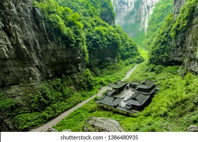 Wulong Karst National Geology Park in Chongqing, China. Chongqing Wulong ancient natural bridge Scenic Area, a UNESCO World Heritage Site