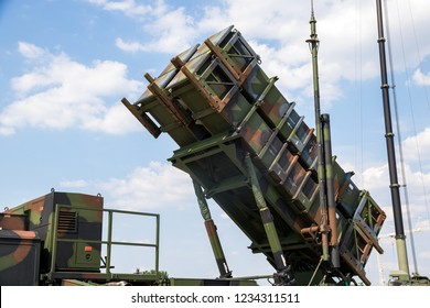 WUNSTORF, GERMANY - JUN 9, 2018: German army military mobile MIM-104 Patriot surface-to-air missile SAM system.