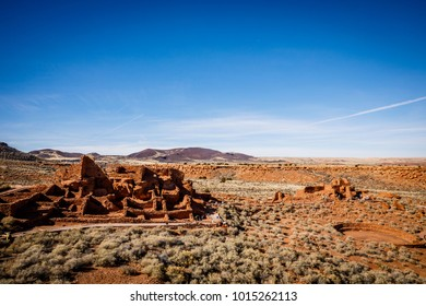 The Wupatki National Monument is seen in north-central Arizona, by Flagstaff on January 25, 2018. The Native American pueblo ruins were first inhabited around 500 AD & are comprised of over 100 rooms.