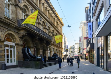 Wuppertal, Germany - February 2019: Outdoor sunny view of walking shopping street in front of Von der Heydt Museum in Wuppertal, Germany.