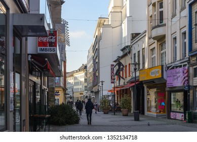Wuppertal, Germany - February 2019: Outdoor sunny view of walking and shopping street in Wuppertal, Germany.