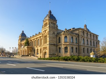 Wuppertal, Germany - February 2019: Outdoor sunny street view without car of  Historische Stadthalle Wuppertal, one of beautiful concert hall.