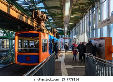 Wuppertal, Germany - March 2019: Interior view at platform in station of Schwebebahn, famous historical landmark Suspension Monorail,  Wuppertal city, Germany.