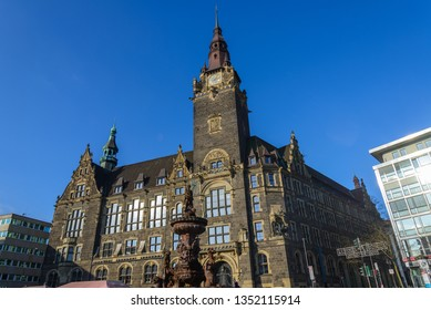 Wuppertal, Germany - March 2019: Outdoor sunny view of walking street and plaza in front of city hall in old town of Wuppertal city, Germany.