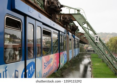 Wuppertal, Germany - October 18, 2018: The unique and famous Wuppertal Suspension Railway in Germany.