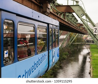 Wuppertal, Germany - October 18, 2018: The Suspension Railway in Wuppertal, Germany is the oldest elevated Railway with hanging cars in the world.