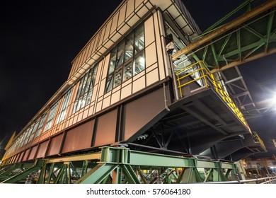 wuppertal germany schwebebahn train station oberbarmen at night