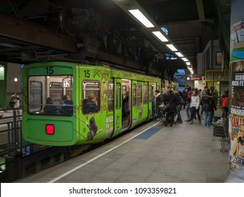 "Wuppertal, Nordrhein-Westfalen, Germany. 15.01.2012. Monorail ""Die Schwebebahn"", built 1901,  stopping at Doeppersberg station in Wuppertal-Elberfeld, Germany."