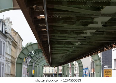 WUPPERTAL; NRW; GERMANY - JULY 31; 2017: The supporting framework of the Wuppertaler suspension railway consists of a steel framework .