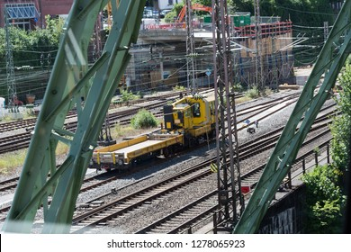 WUPPERTAL; NRW; GERMANY - JULY 31; 2017: The supporting framework of the Wuppertaler suspension railway consists of a steel framework with inclined supports and suspended steel bridges so-called Riep