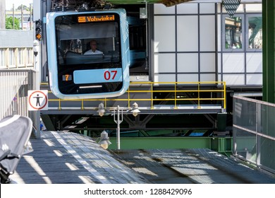 WUPPERTAL; NRW; GERMANY - JULY 31; 2017:  Suspension railway in the station Wuppertal Vohwinkel.Die Hochbahn is used for public transport.